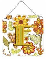 Letter E Floral Mustard and Green Wall or Door Hanging Prints - 6HX6W