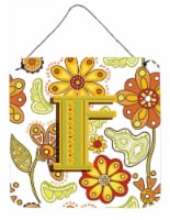Letter F Floral Mustard and Green Wall or Door Hanging Prints - 6HX6W