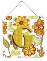 Letter G Floral Mustard and Green Wall or Door Hanging Prints - 6HX6W