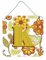 Letter K Floral Mustard and Green Wall or Door Hanging Prints - 6HX6W
