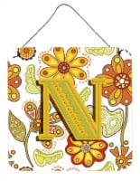 Letter N Floral Mustard and Green Wall or Door Hanging Prints - 6HX6W