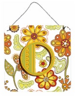 Letter O Floral Mustard and Green Wall or Door Hanging Prints - 6HX6W