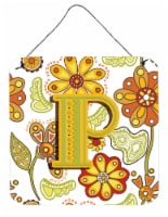 Letter P Floral Mustard and Green Wall or Door Hanging Prints - 6HX6W