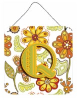 Letter Q Floral Mustard and Green Wall or Door Hanging Prints - 6HX6W
