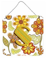 Letter S Floral Mustard and Green Wall or Door Hanging Prints - 6HX6W