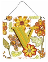 Letter V Floral Mustard and Green Wall or Door Hanging Prints - 6HX6W