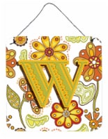 Letter W Floral Mustard and Green Wall or Door Hanging Prints - 6HX6W