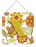 Letter X Floral Mustard and Green Wall or Door Hanging Prints - 6HX6W