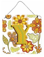 Letter Y Floral Mustard and Green Wall or Door Hanging Prints - 6HX6W