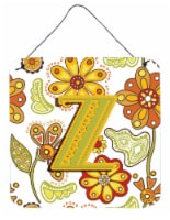 Letter Z Floral Mustard and Green Wall or Door Hanging Prints - 6HX6W