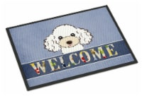 Carolines Treasures  BB1443MAT White Poodle Welcome Indoor or Outdoor Mat 18x27 - 18Hx27W