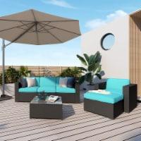 Kumo 6 Piece Patio Conversation Set Cushioned Sectional Sofa,Dark Brown Wicker