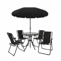 Kumo 6 Pieces Outdoor Patio Dining Set with Umbrella for Patio Garden Pool, Black - 1 set