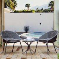 3-Piece Plastic Chair Set All-Weather Patio Conversation Set - 1 set
