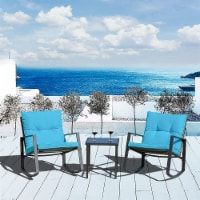 3 PC Rocking Bistro Set Patio Furniture(Blue) - 1 set
