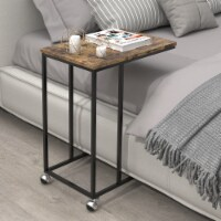 C-Shaped Side Table End Table with 4 Rolling Wheels Table Rustic Brown - 1 unit