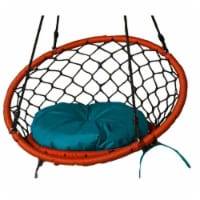 Lea Unlimited Round Microfiber Small Dreamcatcher Swing Cushion in Turquoise - 1