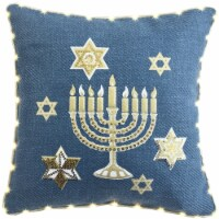 Lea Unlimited Led Light-Up Cotton Hanukkah Cushion in Blue with Gold - 1