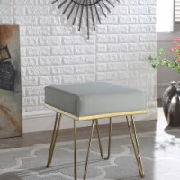 Chic Home FON2975-US Contemporary Modern Catha Square Ottoman PU Leather Upholstered Brass Fi - 1