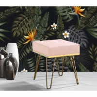 Chic Home FON2973-US Contemporary Modern Catha Square Ottoman PU Leather Upholstered Brass Fi - 1