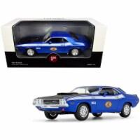 First Gear 49-3173B7 1970 Dodge Challenger T-A 340 Six Pack Blue Metallic with Black Hood & W - 1