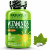NATURELO Vitamin D3 from Wild-Harvested Lichen Capsules 5000IU - 180 ct