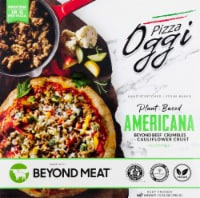 Oggi Americana Beyond Beef Crumbles and Roasted Vegetables on Cauliflower Crust Pizza