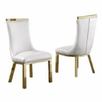 White Faux Leather Upholstered Side Chair with Gold Stainless Steel Legs - 1