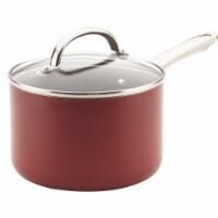 Farberware 22014 Buena Cocina Aluminum Nonstick Covered Saucepan, Red - 3 qt - 1