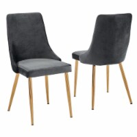Minimalistic Gray Velvet Fabric Chairs with Gold Chrome Base (Set of 4) - 1