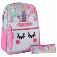 Cudlie Big Face Marshmallow Unicorns Backpack with Pencil Case