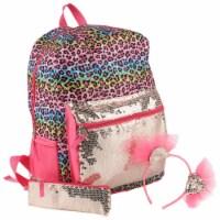 Cudlie Rainbow Animal Print Backpack with Pencil Case and Headband