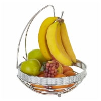 Kitchen Details 22910-CHR Round Fruit Basket with Banana Tree, Pave Diamond Design - 1