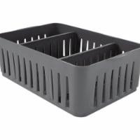 Simplify 29087-GREY Stackable Organizer Bin with Adjustable Dividers, Grey