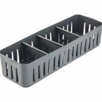 Simplify 29088-GREY Slim Stackable Organizer Bin with Adjustable Dividers, Grey