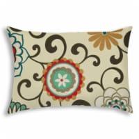 Joita Deco Poms Rectangular Sewn Closure Polyester Outdoor Pillow in Multi-Color - 1