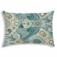 Joita Boho Burst Rectangular Sewn Closure Polyester Outdoor Pillow in Aqua Blue