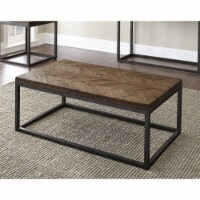 Lorenza Coffee Table in Distressed Brown Wood top and Nickel frame - 1