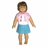 "18"" Doll Clothing Pink Denim Jacket, Pink Top & Jean Skirt"