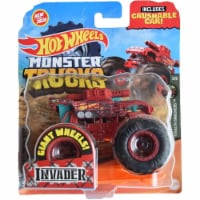 Hot Wheels Monster Trucks 1:64 Scale Invader, Includes Crushable Car