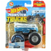 Hot Wheels Monster Trucks 1:64 Scale Drag Bus, Includes Crushable Car