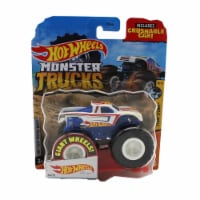 Hot Wheels Monster Trucks 1:64 Scale Hot Wheels Racing White, Includes Crushable Car - 1