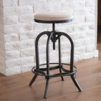 Brixton Industrial Design Adjustable Swivel Iron Bar Stool in Beige Linen