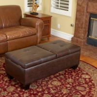 Murray Double Opening Leather Storage Ottoman - 1 unit