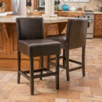 Seigel 19-Inch Brown Bonded Leather Counter Stool (Set of 2)