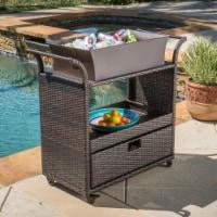 Maja Multi-Brown Wicker Bar Cart