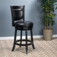 Davis 24-Inch Black Bonded Leather Swivel Backed Counter Stool