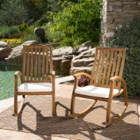 Cattan Outdoor Acacia Wood Rocking Chair with Water Resistant Cushions - Set of 2 - 1 unit