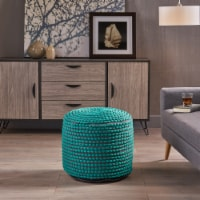Rosalyn Fabric Round Pouf Ottoman