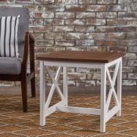 Cassandra Outdoor Farmhouse Dark Oak Acacia Wood White Frame End Table